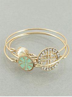 Set of 3 Mint and Goldtone Cross Bangle by JewelJunkieShop on Etsy, $19.00
