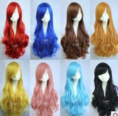 Free Shipping 2013 75cm long women many colors wave curly universal party wigs anime cosplay wigs  for women