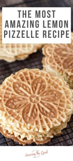 This lemon pizzelle recipe is a citrus variation of the classic pizzelle recipe and a delicious addition to your Christmas cookie recipe box. Thin and crisp, pizzelles are a classic Italian cookie and are a favorite to take to holiday cookie exchanges. Pizzelle Cookies, Almond Cookies, Italian Lemon Cookies, Lemon Drop Cookies, Decorated Cookies, Recipes, Cookies, Frozen Desserts, Italian Pastries