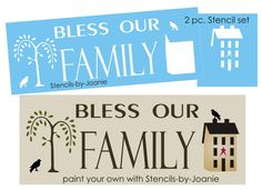 STENCIL Bless Our Family Willow Tree Saltbox House Crow Country Primitive signs