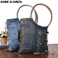Check lastest price KISS KAREN Luxury Rhinestone Rivets Design Fashion Denim Women Totes Jeans Shoulder Bags Lady Handbags Tote Bag Socialite Style  just only $38.22 with free shipping worldwide  #womantophandlebags Plese click on picture to see our special price for you