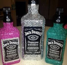 Glitter-fied and Bedazzled Jack Daniels Bottles! <3 <3
