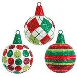 "RAZ 6"" Flocked Glittered Red White Green Ball Christmas Ornament Set of 3"