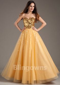 Zipper Sequins Tulle Sweetheart Yellow Ruched A-line Floor Length Sleeveless Evening / Prom Dresses