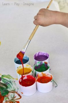 Two ingredient edible paint recipe, sweetened condensed milk and food coloring.