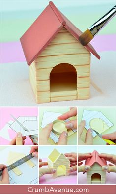 how to make step by step dog tutorial with templates pattern house panels cake topper fondant gum paste figure figurine cake decorating sugar craft idea clay inspiration Crumb Avenue Fondant Dog, Fondant Cake Toppers, Cupcake Fondant, Cake Topper Tutorial, Fondant Tutorial, Fimo Kawaii, House Cake, Dog Cakes, Sugar Craft