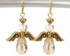 Christmas Angel Earrings Gold Holiday Jewelry Trending Swarovski Crystals Handmade Trendy December Stocking Stuffer Gift Trends Under 25