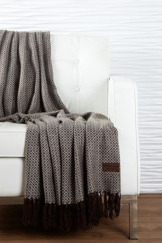 "Alpaca Single Diamond Pattern Throw - Chocolate/Light Blue - 54"" x 63"" by Kanto Home on @HauteLook"