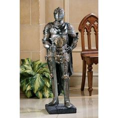 Design Toscano The King's Guard Medieval Decor Half Scale Knight Armor Gothic Statue, 39 Inch, Polyresin, Two Tone Metallic Medieval Knight Armor, Medieval Gothic, Armadura Medieval, Knight In Shining Armor, Street Gallery, Suit Of Armor, Garden Statues, Wall Sculptures, Concept Art