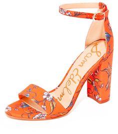 Sam Edelman Yaro Floral Block-heel Sandal, Orange In Orange Botanical Print Fabric Orange Sandals, Orange Shoes, Dress Sandals, Ankle Strap Sandals, Shoes Sandals, Heeled Sandals, Women Sandals, Flats, Cinderella Slipper