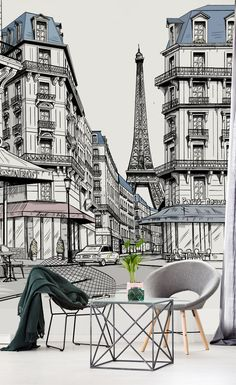 Paris City, Paris Street, Paris Illustration, Illustrations, Cityscape Drawing, City Drawing, Paris Drawing, Paris Buildings, Paris Wallpaper