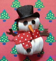 Snowman Sculpted Ribbon Hair Clip