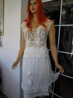 Handmade knit crochet blouse and double skirt in by GoldenYarn, $400.00