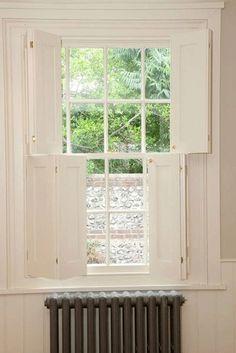 HAUS timber-shutters-and-windows. Wooden Window Shutters, Diy Shutters, Wooden Windows, Windows And Doors, Indoor Shutters For Windows, Diy Interior Window Shutters, Cottage Shutters, Cottage Exterior, Georgian Interiors