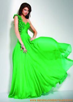 Grünes sexy Abendkleid aus Chiffon V-Ausschnitt