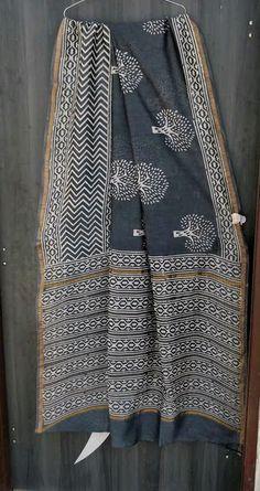 Exclusive new Hand Block Printed chanderi silk sarees Chanderi Silk Saree, Silk Cotton Sarees, Cotton Saree Designs, Saree Blouse Designs, Sabyasachi Sarees, Indian Sarees, Block Print Saree, Block Prints, Plain Saree