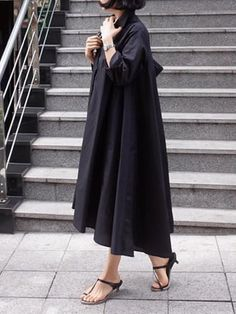 Casual Cropped Long Shirt Dress : This shirt dress features button down and big swing, and you may wear this long shirt dress for casual life, date, vacation and other occasions. Dress Outfits, Casual Dresses, Rajputi Dress, Long Shirt Dress, Linen Dresses, Maxi Dresses, Abaya Fashion, Kurta Designs, Trends