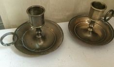 A vintage Pair of brass chamber candlesticks, in good condition & need cleaning. Candlesticks, Brass, Vintage, Ebay, Candle Sticks, Candelabra, Copper, Primitive, Candle Stands