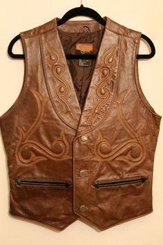 Steampunk Brown Leather Western Vest by NeedlesnPinsVintage Wide Leather Belt, Leather Vest, Brown Leather, Leather Jackets, Western Vest, Cowboy Vest, Survival Clothing, Men Closet, Look Cool