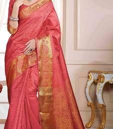 Buy Red plain art silk saree with blouse banarasi-silk-saree online