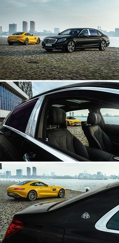 A great duo! Mercedes-AMG and Mercedes-Maybach in Rotterdam photographed by Gijs Spierings. [Mercedes-AMG GT S | combined fuel consumption 9.6-9.4 l/100km | combined CO2 emission 224-219 g/km | http://mb4.me/efficiency_statement]