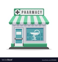 Pharmacy city building exterior front view vector image on VectorStock Medical Illustration, Line Illustration, World Pharmacist Day, Community Places, Medical Wallpaper, Life Skills Activities, Kids Cafe, Shrink Art, Toy House