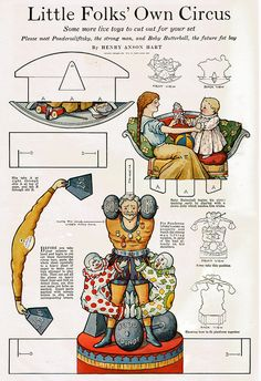 Paper Doll * Little Folks' Own Circus by Henry Anson Hart * Large Full Color Cut-Out page * Ladie's Home Journal? Vintage Paper Dolls, Vintage Circus, Vintage Crafts, Paper Puppets, Paper Toys, Circus Crafts, Paper Crafts Magazine, Toy Theatre, Origami Paper Art