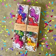 Unicorn Party Gift - Mini Unicorn Original Rainbow Crayons - Set of 4 Unicorn Crayons in Gift Box - Unicorn Birthday Gift - Unicorn Party Recycled Crayons, Diy Crayons, Melting Crayons, Melted Crayon Crafts, Crayon Molds, Crayon Set, Unicorn Birthday, Unicorn Party, Party Gifts
