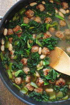 Sausage Meatballs, White Beans, and Kale Soup