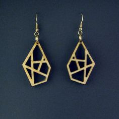 Plywood Minimalist Abstract Diamond Earrings - dangling