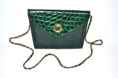 Jahrgang strukturierte Trapez grün Kroko Prägung Kiesstrände Leder Tasche Handtasche Kupplung lange Kette Armband crossbody