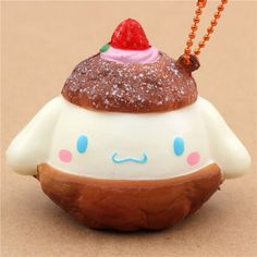 brown light cream Cinnamoroll cream puff squishy charm for cellphone or bag