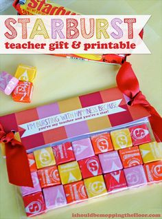 Starburst Teacher Gift and free printable #VIPFruitFlavors #CollectiveBias #shop #cbias