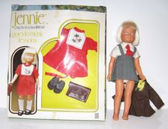 1976 Denys Fisher Jennie Schoolfriend doll, boxed outfit +brownie outfit