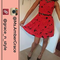 *REDUCED* Rose Printed Fit and Flare Dress Sleeveless dress, perfect for a night out on the town! Large rose print. Boatneck. Pleated. Back zipper closure. Attached lining. Features upper back cutout. Show just enough, but not too much! Never before worn! Except to take the pic :) Dresses Midi