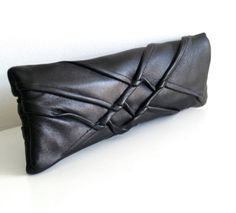 X Clutch by Carol Gilbert: Made of repurposed leather, lined with linen. #Handbag #Clutch #Leather-Clutch #Carol_Gilbert