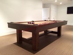 Custom Pottery Barn Style Pool Table is proudly made in the USA  Available in any wood, our most popular is the reclaimed pine wood.  Email us at nygameroom@gmail.com for more info Call 6313007786 to speak with a GameRoom Expert