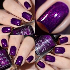 Nail art is a very popular trend these days and every woman you meet seems to have beautiful nails. It used to be that women would just go get a manicure or pedicure to get their nails trimmed and shaped with just a few coats of plain nail polish. Purple Nail Art, Purple Nail Designs, Toe Nail Designs, Purple And Silver Nails, Purple Glitter Nails, Acrylic Nails Stiletto, Toe Nails, Gorgeous Nails, Pretty Nails