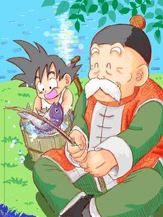 Grandpa Gohan and baby Goku from the Dragon Ball anime Dragon Ball Gt, Dragon Ball Z Shirt, Kid Goku, Thundercats, Akira, Foto Do Goku, Manga Anime, Manga Dragon, Otaku