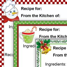 Recipe Card Templates For MS WORD   Prints Of Joy