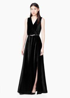 Vestido comprido veludo | MANGO