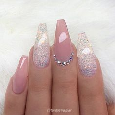 REPOST - - - - Pale Mauve-Pink and Glitter on long Coffin Nails with Crystal Accent - - - - Picture and Nail Design