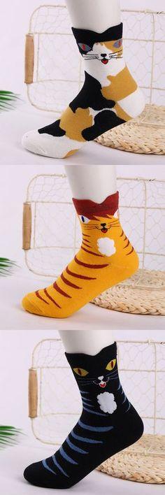 Women Cotton Breathable Cartoon Cat Socks Casual Warm Middle Tube Socks Floor Socks