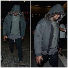 Kanye West Wears Haider Ackermann Fur Hood Jacket, Fear Of God Pants and Bottega Veneta Boots   UpscaleHype