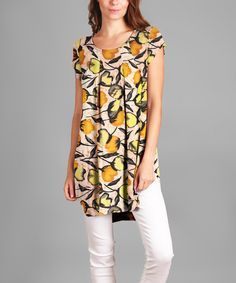 Look what I found on #zulily! Yellow Floral Pleat-Front Tunic - Plus by Sunflower #zulilyfinds