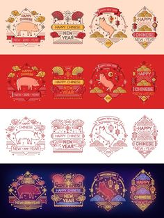 Chinese New Year Card, Chinese Design, Line Art, Monochrome, Illustration Art, Playing Cards, Greeting Cards, Neon, Monochrome Painting