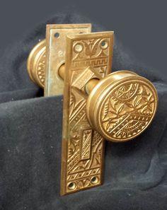 Antique Eastlake Victorian Cast Bronze Door Dummy Set Knob Plate Escutcheon  #BranfordLockWorks