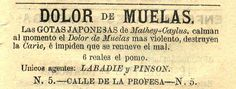 Gotas para el dolor de muelas. Calendario curioso para el año de 1879 : arreglado al meridiano de México. (R)/529.4 CAL.cu.879. Colección de Calendarios Mexicanos del Siglo XIX. Fondo Antiguo. Biblioteca del Instituto Mora, México. Drops for toothache. Curious calendar for the year 1879: arranged to the meridian of Mexico. (R) /529.4 CAL.cu.879. Collection of Mexican Calendars of the 19th Century. Old Background. Library of the Mora Institute, Mexico.