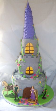 children-cake - Tierd cake to resemble a castle from the movie Tangled
