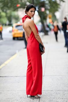 Red jumpsuit at #NYFW